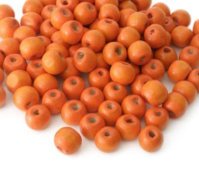 200 Holzperlen 10 x 9mm, orange Bastelperlen Perlen Holz braun