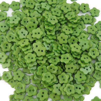 10 Kinderknöpfe Blume, 12 mm, grün  – Bild 1
