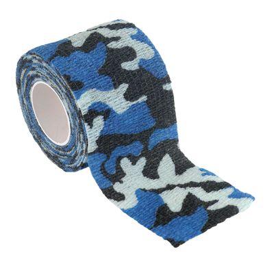 1 Haftbandage Selbsthaftende Bandage / Fixierbinde 5cm x 4,5m, Camouflage Blau