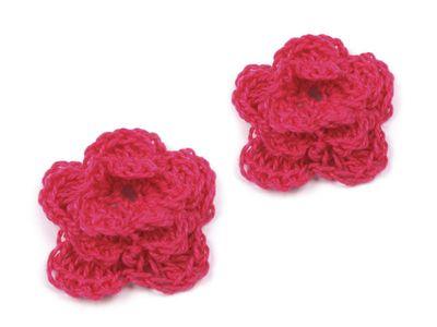 1 Häkelblüte, 30mm, pink
