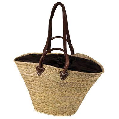 Palmtasche / Ibiza-Tasche mit Zugbandverschluss, Ledergriffen und Lederhenkeln!