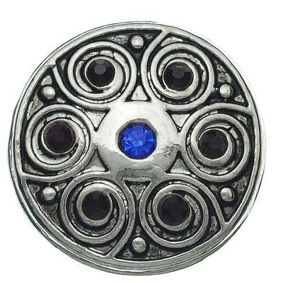 """1 Wechsel - Chunks / Click Buttons """"Blue Swirl"""", antiksilber, Knauf ca. 5,5mm – Bild 1"""