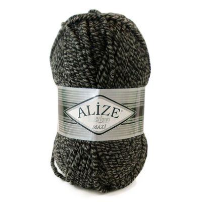 Strickgarn ALIZE SUPERLANA MAXI 25% Wolle 100g, #600 schwarz-grau – Bild 1