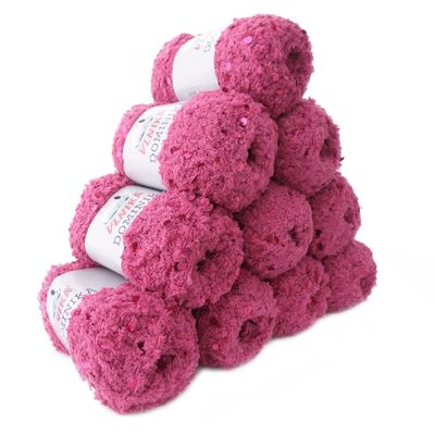 10 x 50g Flauschiges Pailletten-Strickgarn DOMINIKA, #707 pink