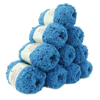 10 x 50g Flauschiges Pailletten-Strickgarn DOMINIKA, #705 blau – Bild 1