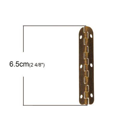 10 Scharniere, 6,5 x 0,9 cm, Metall, altmessing – Bild 2