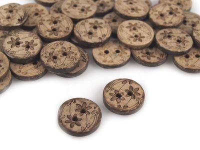 10 Knöpfe aus Kokosnuss mit Blütenmotiv 15,24 mm