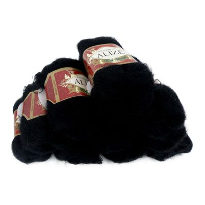 5 x 50g Strickgarn ALIZE KID ROYAL, #60 schwarz