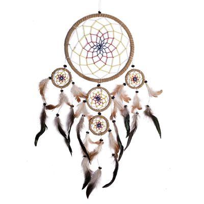 Traumfänger 35 x 60 cm Dreamcatcher Indianer, Hanf Wicklung, farbiges Netz