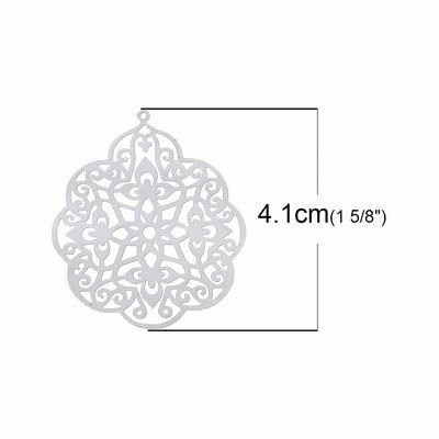 "10 Edelstahl Anhänger ""Blume"", 41x33mm – Bild 2"