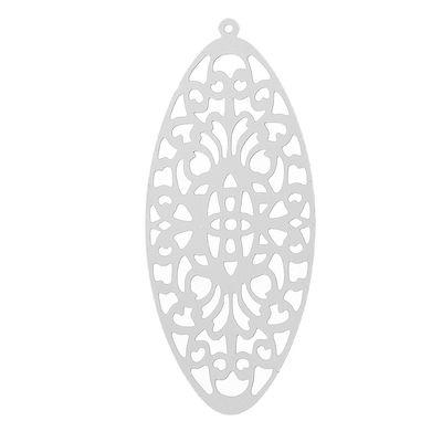 """10 Edelstahl Anhänger """"Oval"""", 49x21mm – Bild 1"""