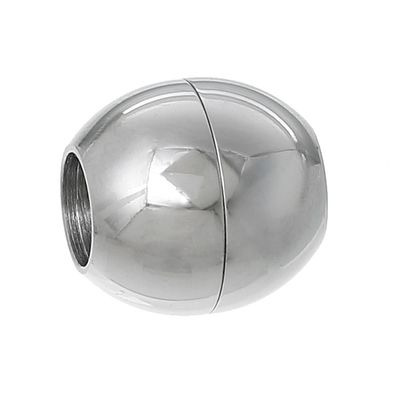10 Edelstahl Magnetschließen / Magnet-Verschlüsse, rund, 13x13mm – Bild 1