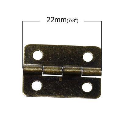 100 Metall-Scharniere mini 22x15mm altmessing Schmuckschatullen Boxen Schränke – Bild 2
