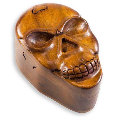 Schatulle Trickbox Totenkopf Skull handgeschnitzt aus Soar-Holz 9 x 13,5 cm – Bild 1