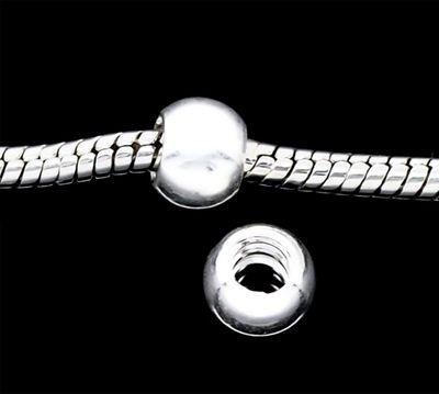 4 European Bead Stopper-Perle m. Gewinde, glatt 8 x 6 mm  – Bild 1