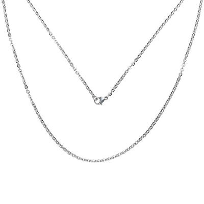 Edelstahl Gliederkette Silberfarben mit Karabinerverschluss 51cm lang – Bild 1