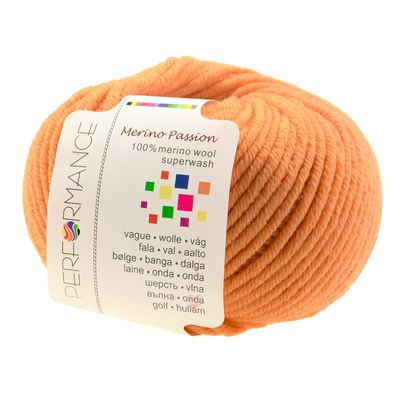 Strickgarn MERINO PASSION SUPERWASH 50g, #01 orange – Bild 1