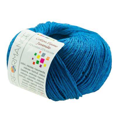 Strickgarn Cotton Flame Juvenile 50g #100 blau – Bild 1