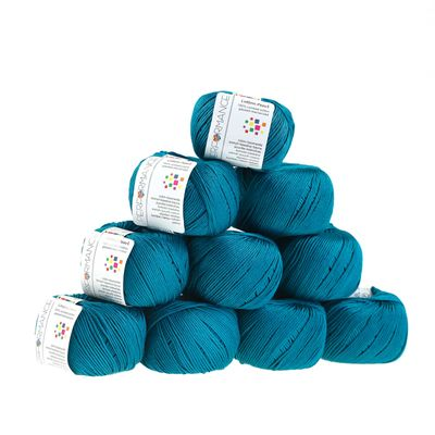 Strickgarn Cotton Pearl 50g #437 blau – Bild 2