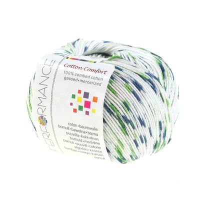 Strickgarn Cotton Comfort 50g #61155 weiß- blau- grün – Bild 1
