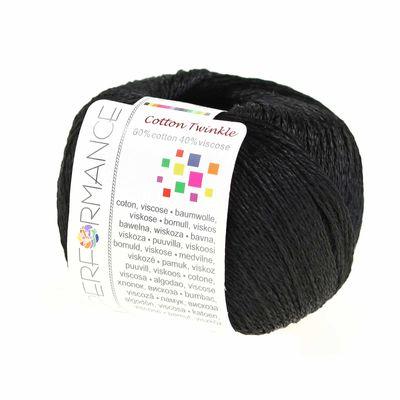 Strickgarn Cotton Twinkle 50g #01 schwarz