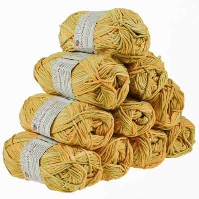 10 x 50g Farbverlaufsgarn Cotton Passion Multi, #14803 beige- grün- gelb