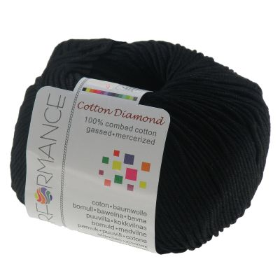 10 x 50g Strickgarn Cotton Diamond, #01 schwarz
