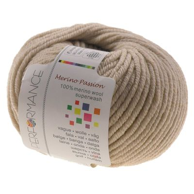10 x 50g Strickgarn MERINO PASSION SUPERWASH, #08 beige