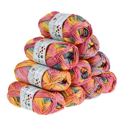 10 x 50g Strickgarn Cotton Queen Multi, #10451 rosa-grau-gelb – Bild 1
