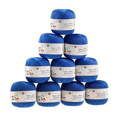 10 x 50g Häkelgarn Classy Cotton, #97 blau