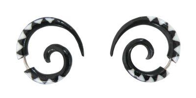 1 Paar Ohrringe aus Bone - Fake Piercing Sichel, 28mm, Farbe B