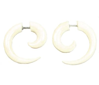 1 Paar Ohrringe aus Bone - Fake Piercing Sichel, 22mm