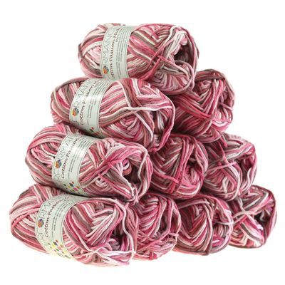 10 x 50g Farbverlaufsgarn Cotton Passion Multi, #14802 flieder- rosa – Bild 1