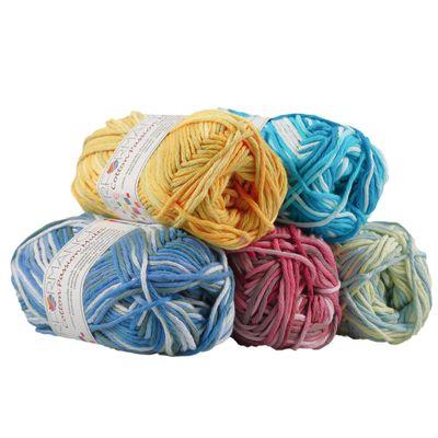 10 x 50g Farbverlaufsgarn Cotton Passion Multi, #14804 gelb- grün- blau – Bild 3