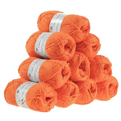 10 x 50g Strickgarn Cotton Passion 100% Baumwolle, #0243 orange – Bild 1