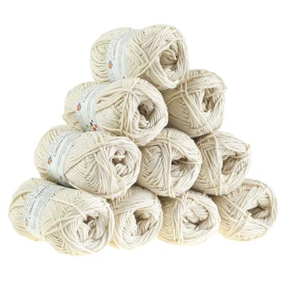 10 x 50g Strickgarn Cotton Passion 100% Baumwolle  #0202 beige – Bild 1