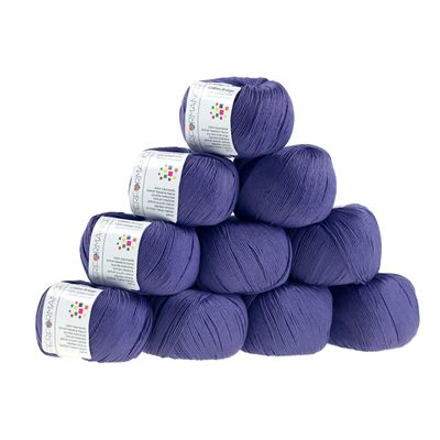 10 x 50g Strickgarn Cotton Breeze, #75 blau- violett