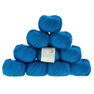 10 x 50g Strickgarn Cotton Flame Juvenile  #100 blau – Bild 1