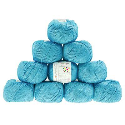 10 x 50g Strickgarn Cotton Flame Juvenile  #144-1 hellblau – Bild 1
