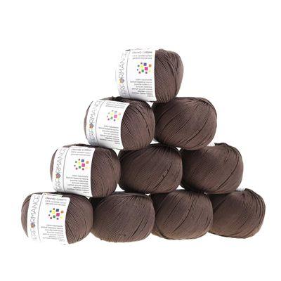 10 x 50g Strickgarn Dainty Cotton, #229 dunkelbraun – Bild 1