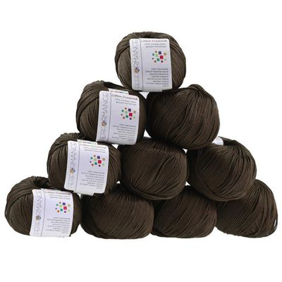 10 x 50g Strickgarn Cotton Diamond  #229 dunkelbraun