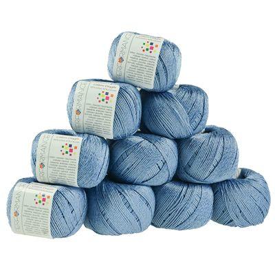 10 x 50g Strickgarn Cotton Dazzle  #92 blau – Bild 1