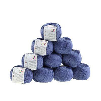 10 x 50g Strickgarn Cotton Dazzle  #93 dunkelblau – Bild 1