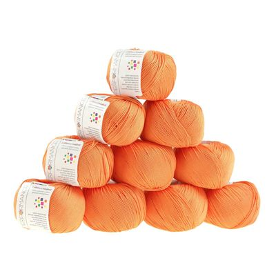 10 x 50g Strickgarn Cotton Marble, #192 orange – Bild 1