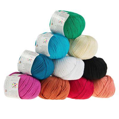 10 x 50g Strickgarn Cotton Pearl, #437 blau – Bild 3