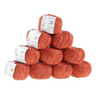 10 x 50g Strickgarn Cotton Pearl, #447 braun – Bild 1