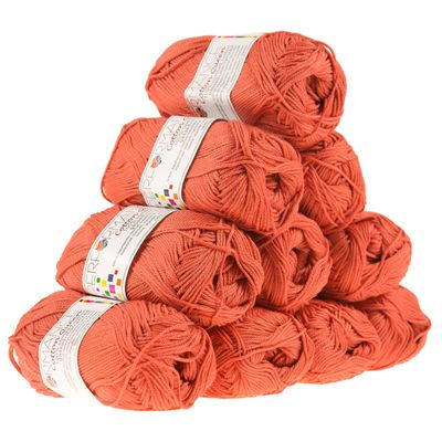 10 x 50g Strickgarn Cotton Queen, #0144 orange