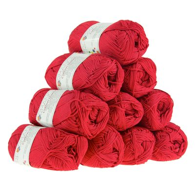 10 x 50g Strickgarn Cotton Queen, #0162 rot – Bild 1