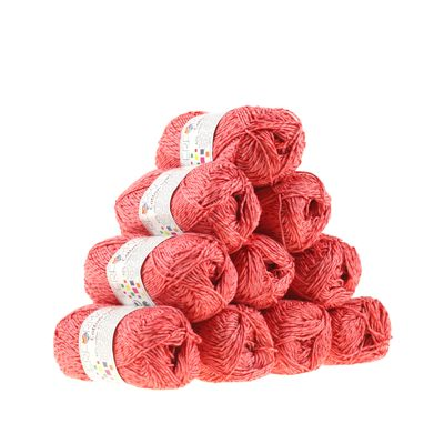 10 x 50g Strickgarn Wolle Cotton Symbiosis  #17 rosa-rot