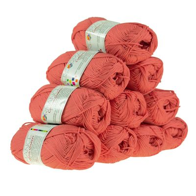 10 x 50g Strickgarn Cotton Queen, #0017 koralle – Bild 1